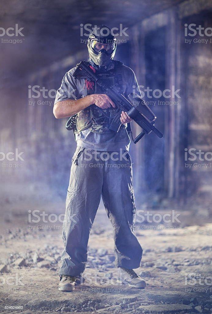 Paintball  man player stock photo