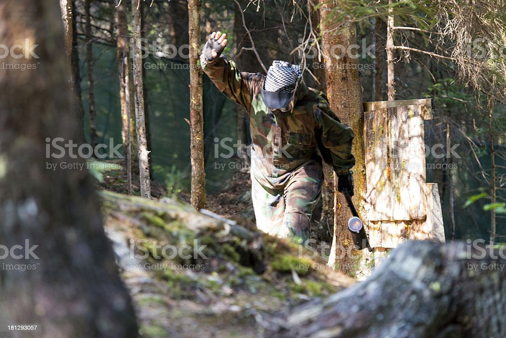 Paintball player lost his game stock photo