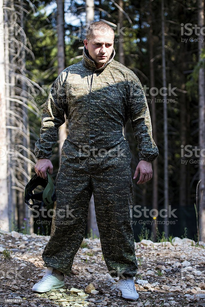 Paintball player preparing for battle stock photo