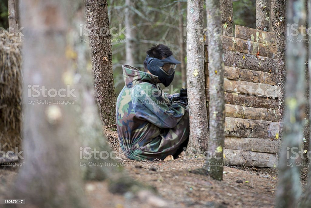Paintball Players Hiding royalty-free stock photo