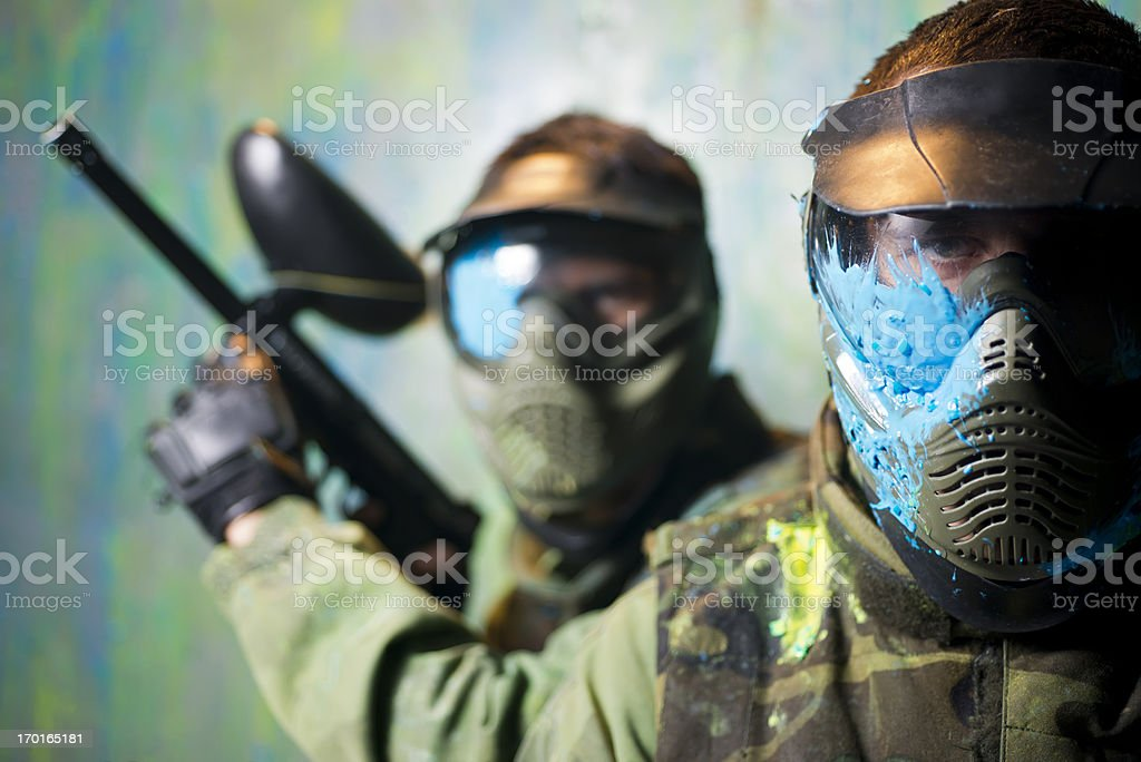Paintball players stock photo