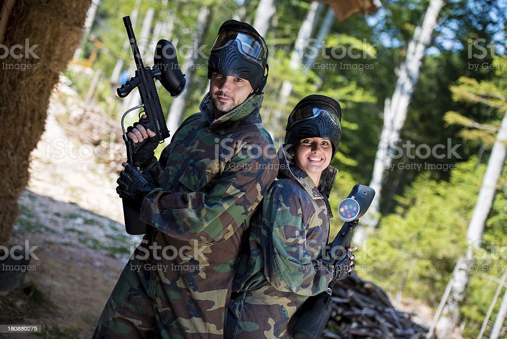 Paintball players posing to the camera royalty-free stock photo