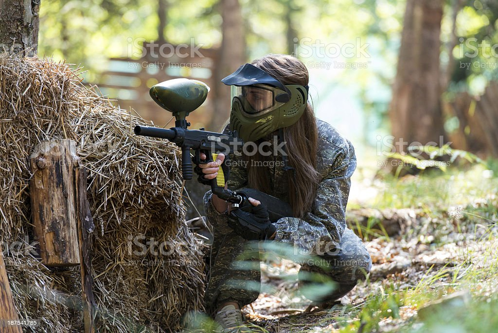 Paintball sniper ready for shooting stock photo