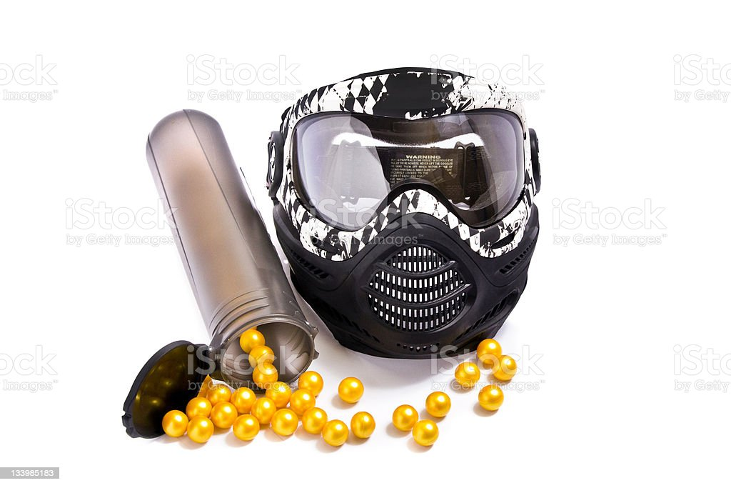Paintballs and mask stock photo