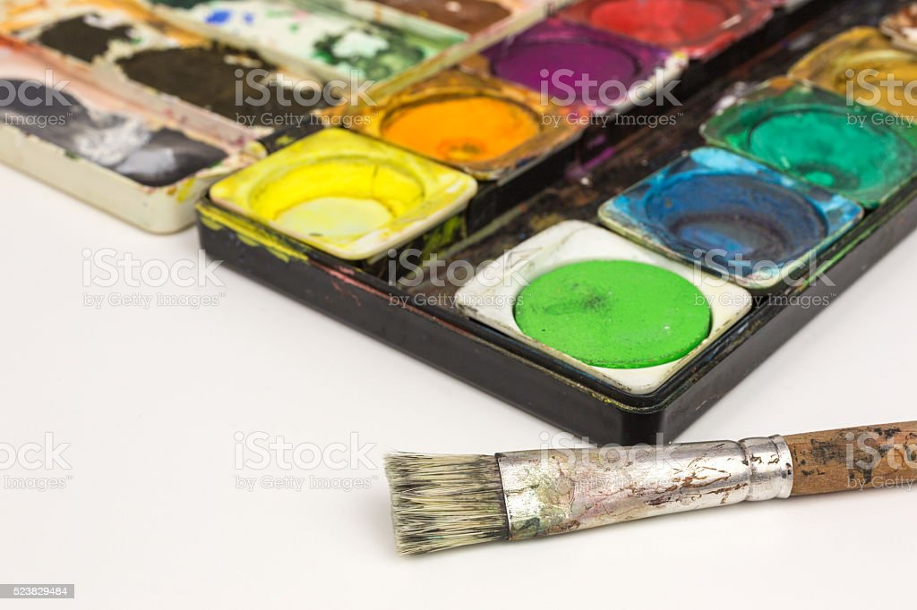 paintbox with brush stock photo