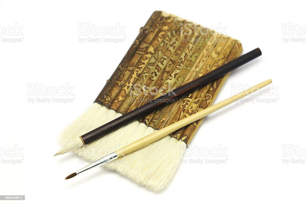 paintbrush and asian writing brush royalty-free stock photo
