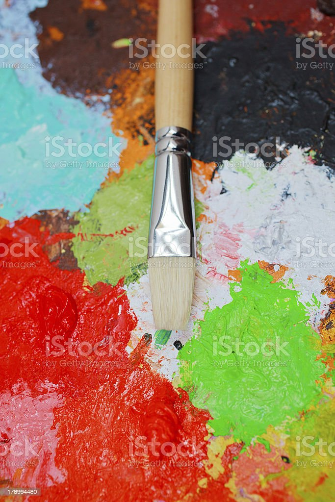 Paintbrush and colors royalty-free stock photo