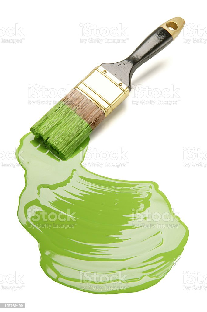 paintbrush and green paint blob(w/clipping path) royalty-free stock photo