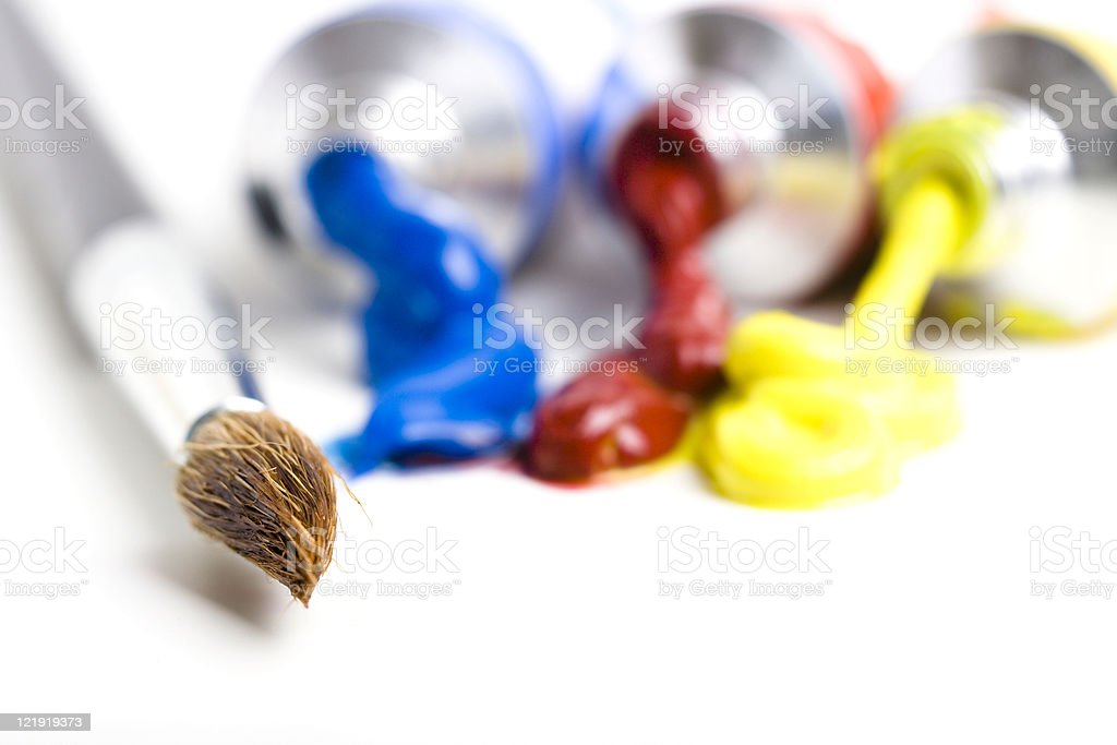 paintbrush and paint  tubes - series royalty-free stock photo