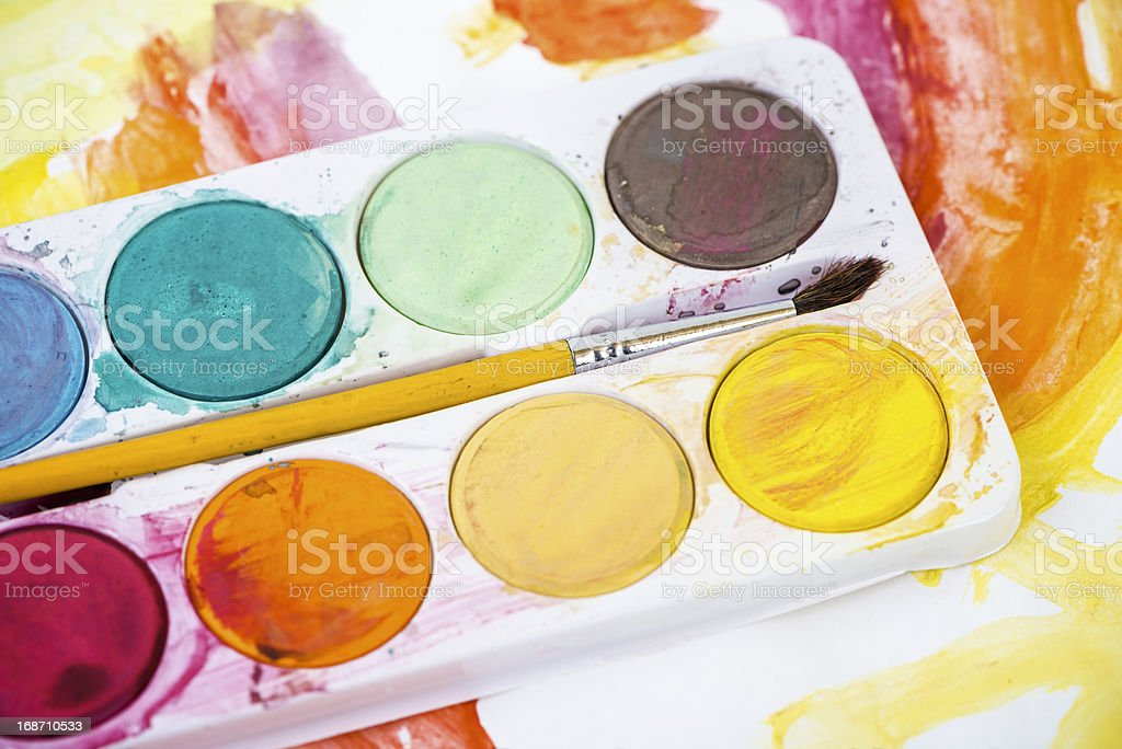 Paintbrush and watercolors royalty-free stock photo