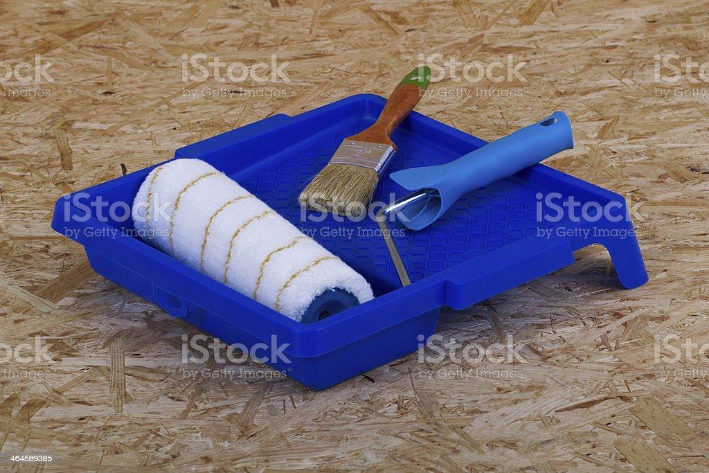 Paintbrush, brush and pan royalty-free stock photo