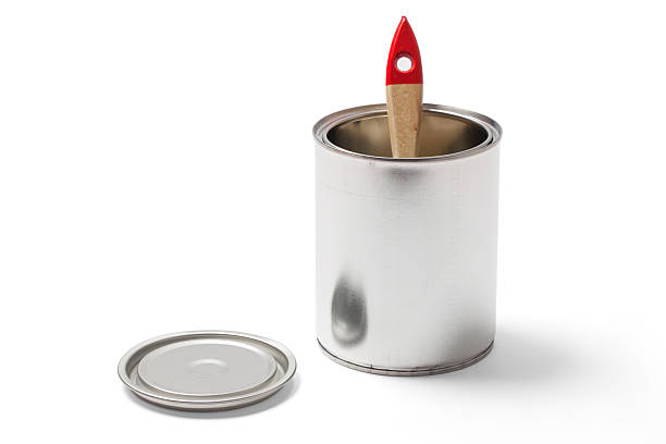 Paintbrush in an Open Tin Can with a Clipping Path stock photo