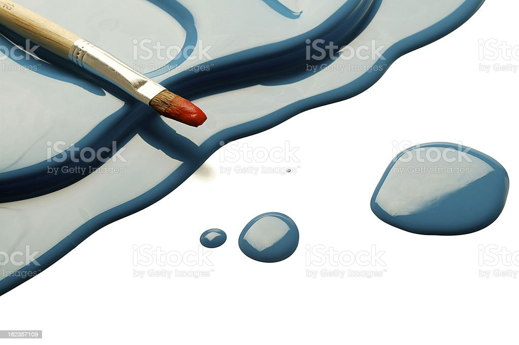 paintbrush on paint blob(w/clipping path) royalty-free stock photo