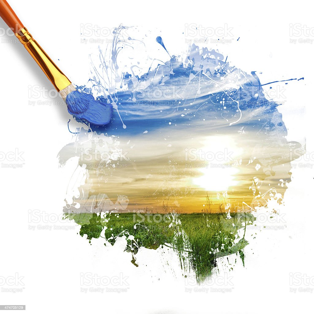 paintbrush painting beautiful landscape stock photo