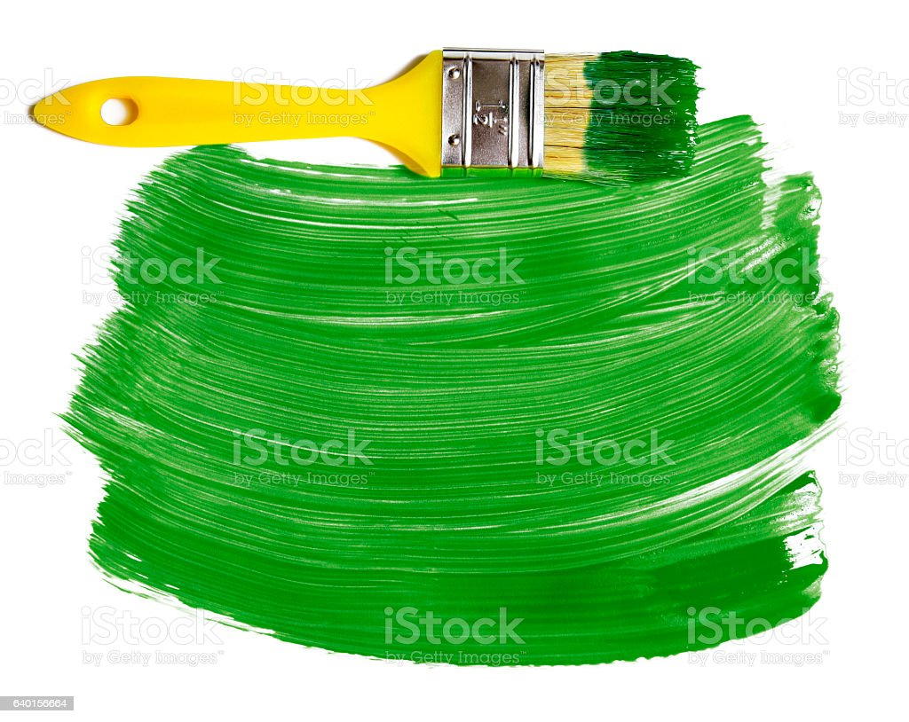 Paintbrush with green paint (isolated on white) stock photo