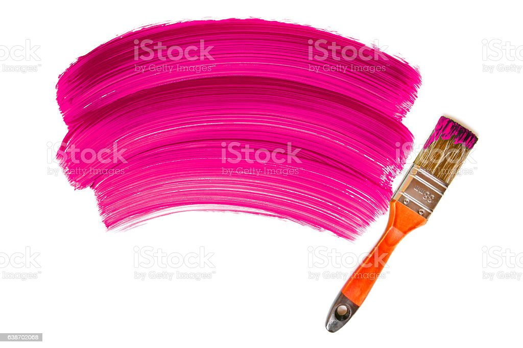 Paintbrush with pink paint (isolated on white) stock photo
