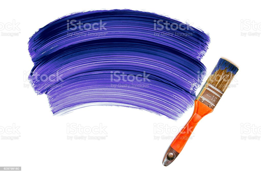 Paintbrush with purple paint (isolated on white) stock photo