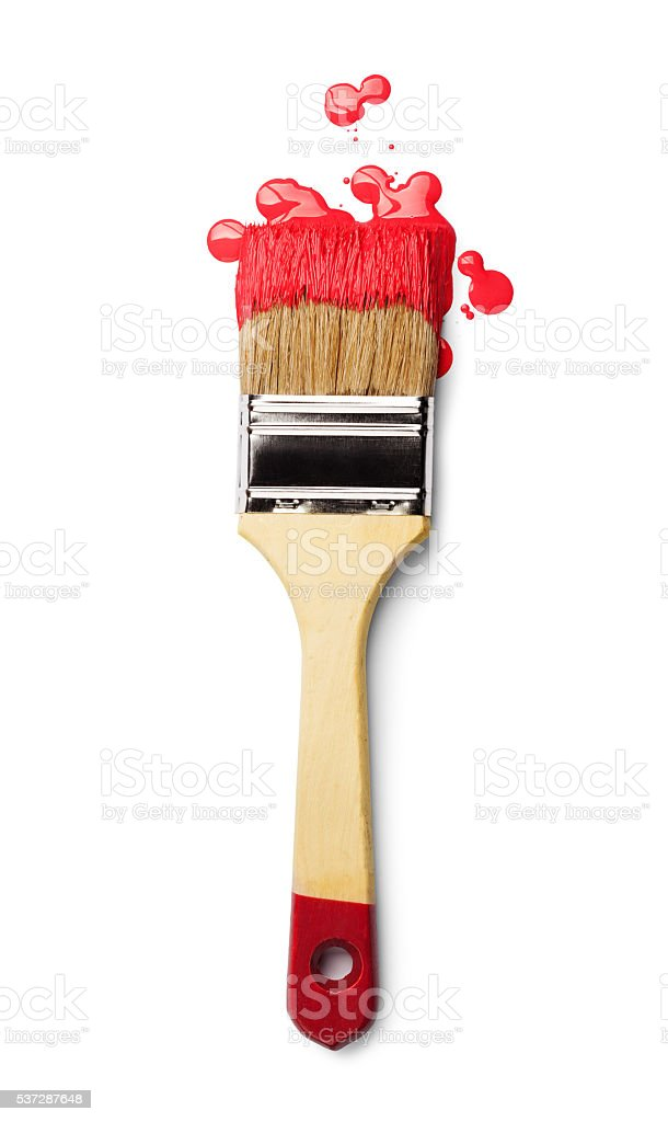 Paintbrush with red paint stock photo