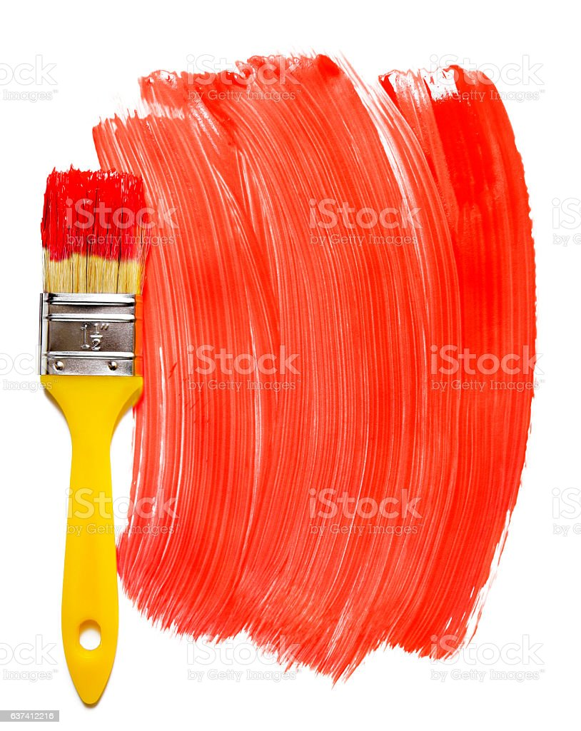 Paintbrush with red paint (isolated on white) stock photo