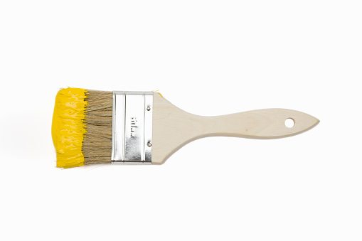 Paintbrush With Yellow Paint Stock Photo - Download Image Now