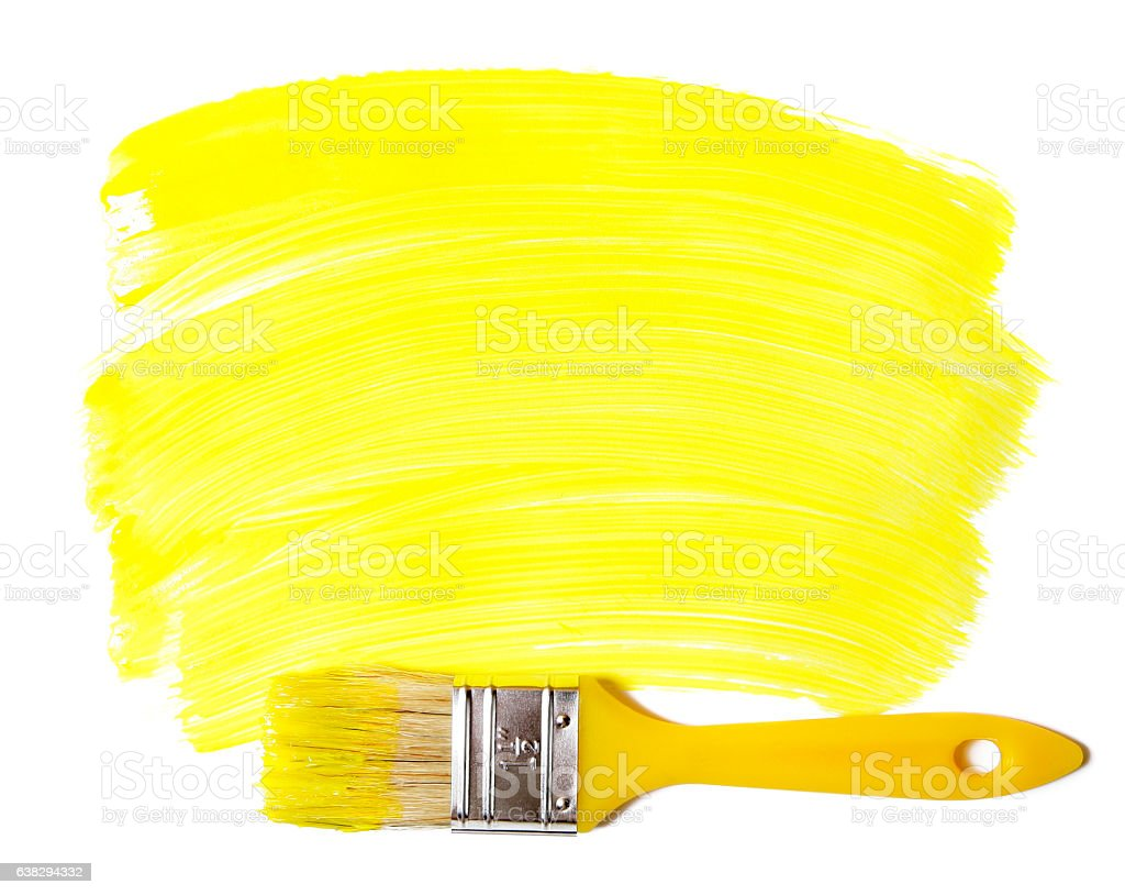 Paintbrush with yellow paint (isolated on white) stock photo