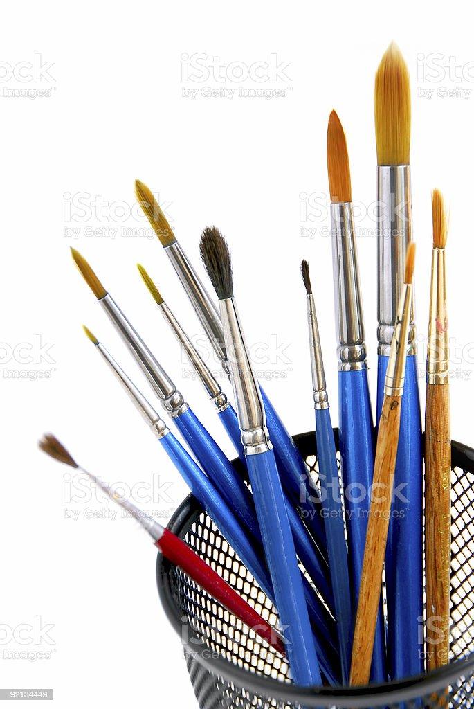 Paintbrushes holder royalty-free stock photo