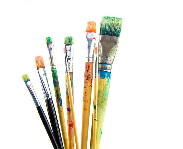 Paintbrushes used stock photo