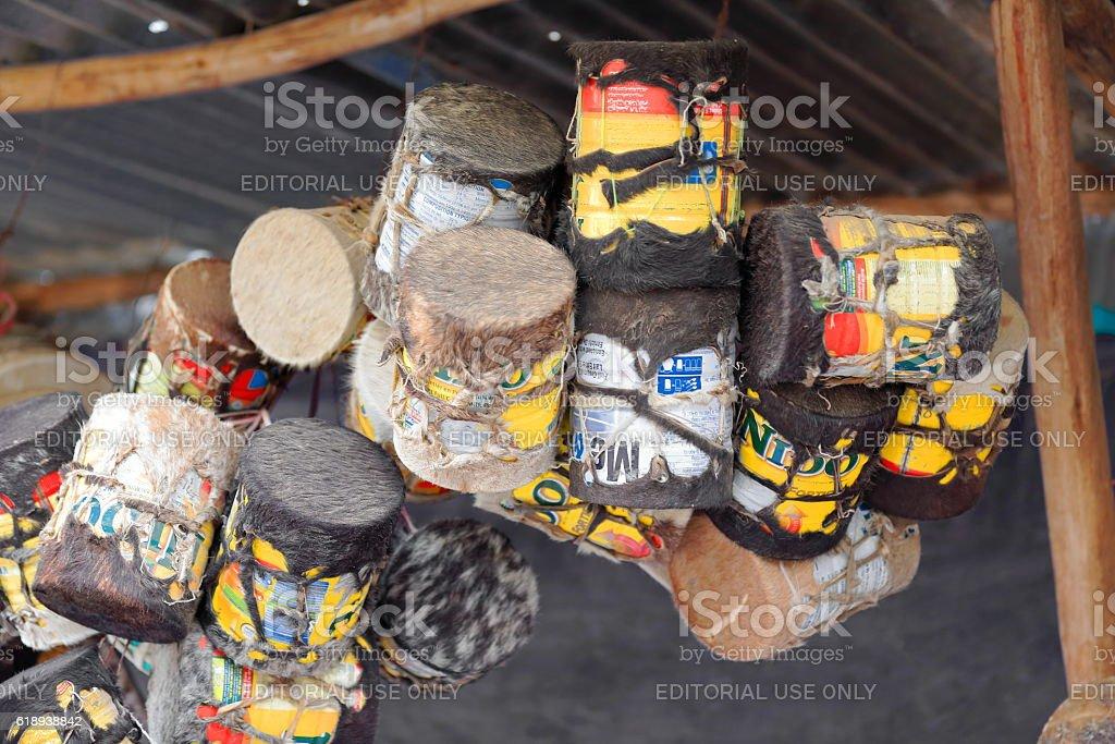 Paint-bucket drums for sale. Mekele-Ethiopia. 0474 stock photo