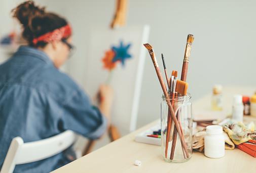 Paintbrushes in focus