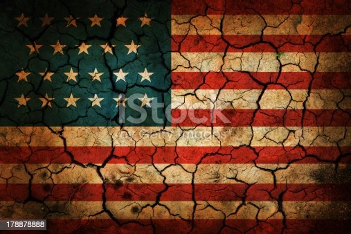 istock Painted American flag on cracked earth 178878888