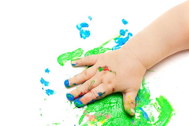 baby hand gemalt - fingerfarben stock-fotos und bilder