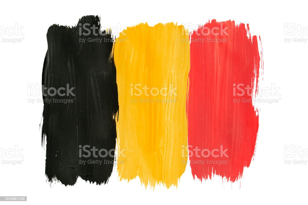 Pintou a bandeira belga isolada - foto de acervo