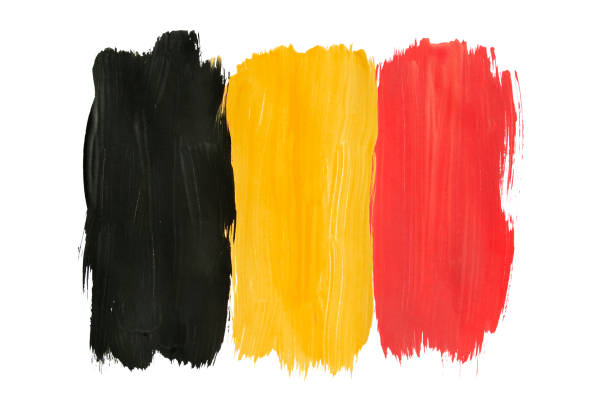 Painted Belgian flag isolated National Belgian tricolor painted on white background belgium stock pictures, royalty-free photos & images
