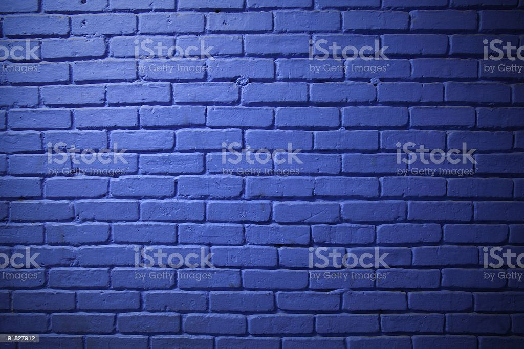 Painted Blue Brick Wall Background stock photo