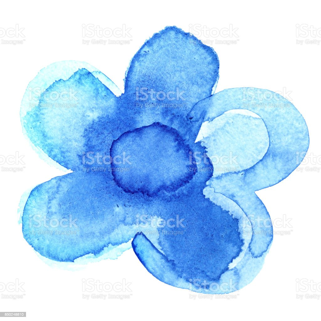 Painted blue flower stock photo