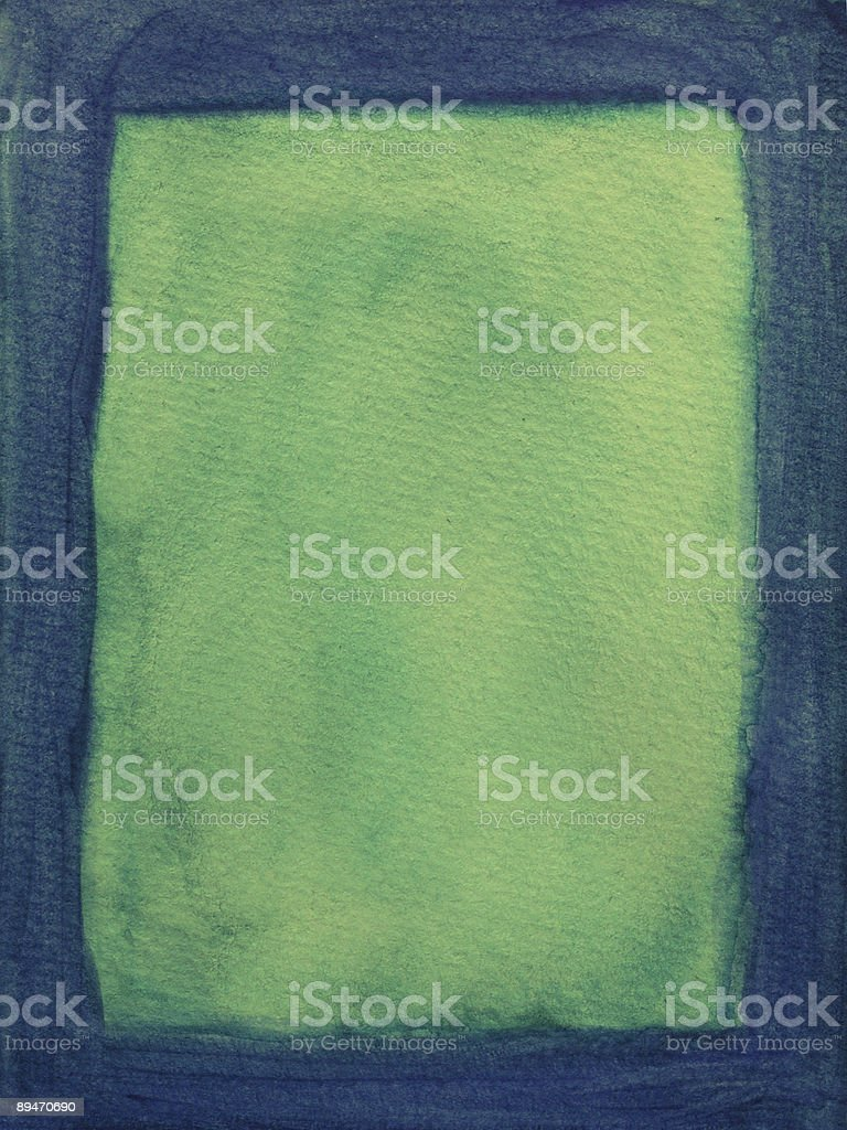 Painted blue frame on green background royalty-free stock photo