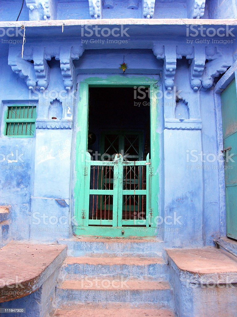Painted blue house,Jodhpur, the blue city in Rajasthan,India royalty-free stock photo