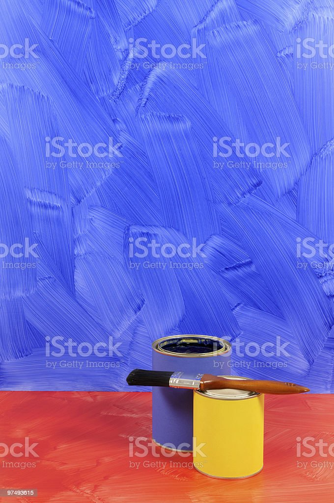 Painted blue wall with red floor royalty-free stock photo