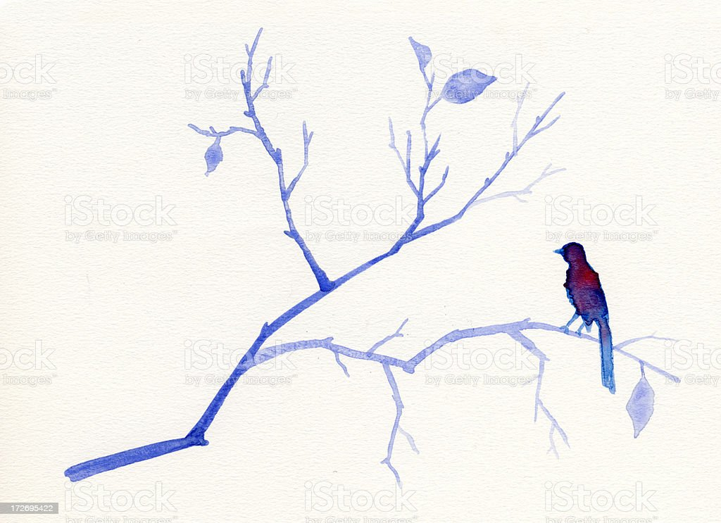 Painted blue watercolor bird and tree stock photo