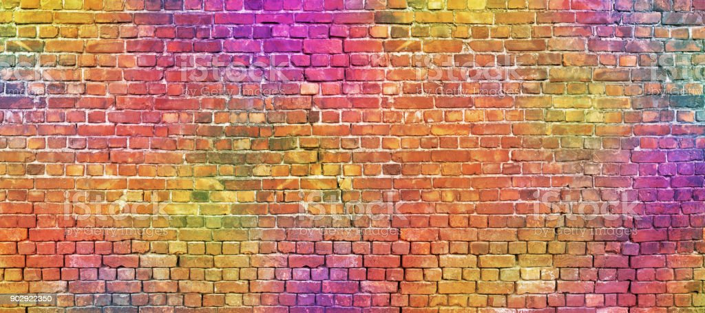 painted brick wall, abstract background of different colors stock photo