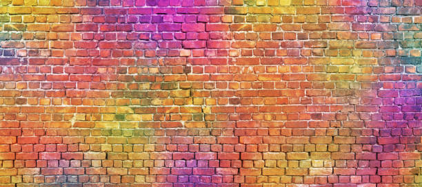 painted brick wall, abstract background of different colors - multi colored stock pictures, royalty-free photos & images