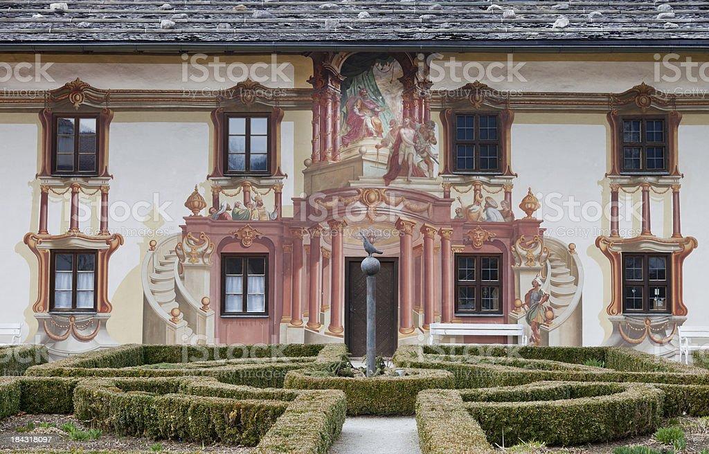 Painted building in Oberammergau, Bavaria, Germany stock photo