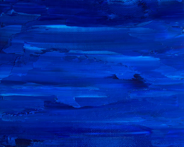 painted canvas - dark blue water waves - tempera painting stock pictures, royalty-free photos & images