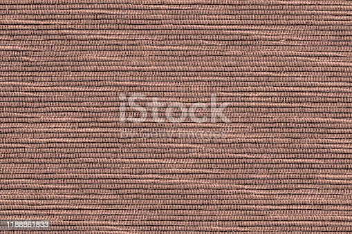 Painted canvas in coffee color, sackcloth or burlap with large visible striped horizontal texture. Close up of jute, texture pattern for vivid background