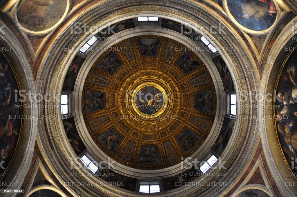 Painted ceiling of dome of Santa Maria del Popolo basilica stock photo