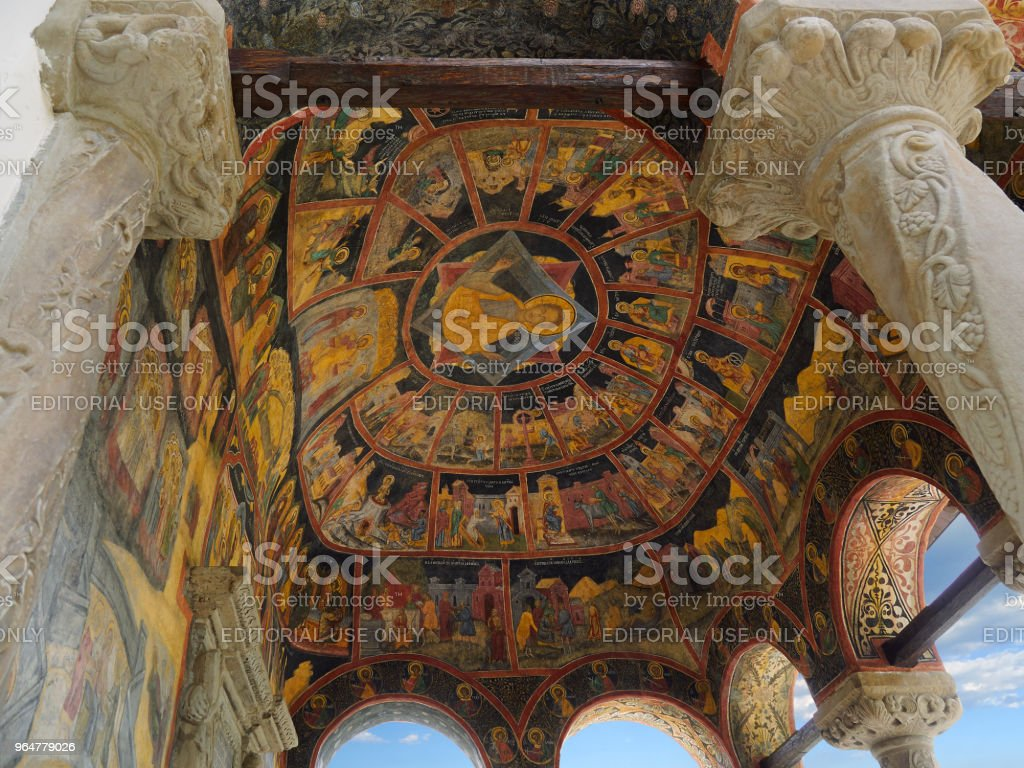 Painted ceiling, Old Church of Sinaia Monastery royalty-free stock photo