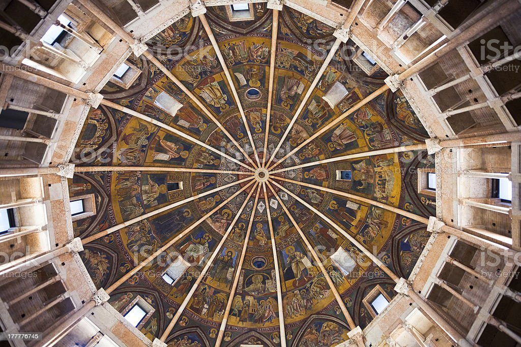 painted ceiling The Baptistery of Parma royalty-free stock photo