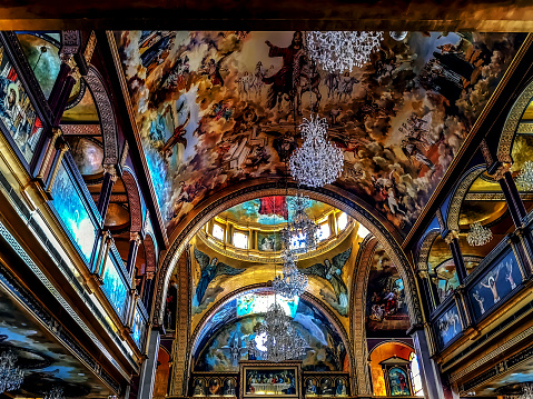 Painted Ceiling With Large Chandeliers And A Dome In The El Samaeyeen Coptic Orthodox Church Of Sharm El Sheikh Stock Photo - Download Image Now