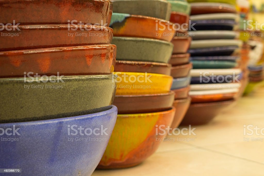 Painted ceramic bowls stock photo