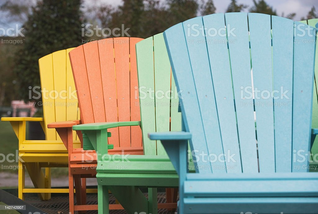Painted chairs stock photo